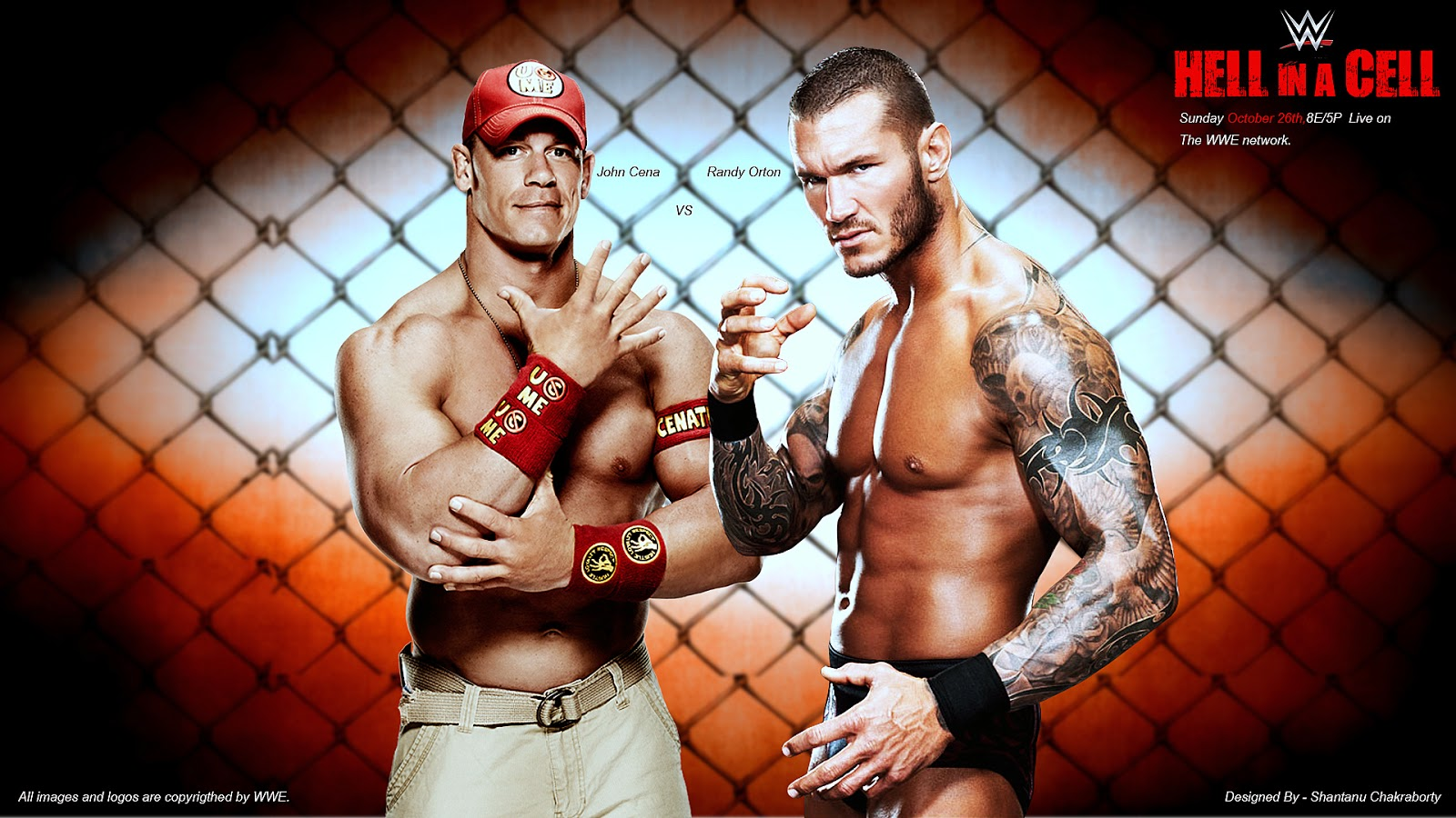 Hell In A Cell 2014 — John Cena vs Randy Orton Match Card Wallpaper (Designed by Shantanu Chakraborty)