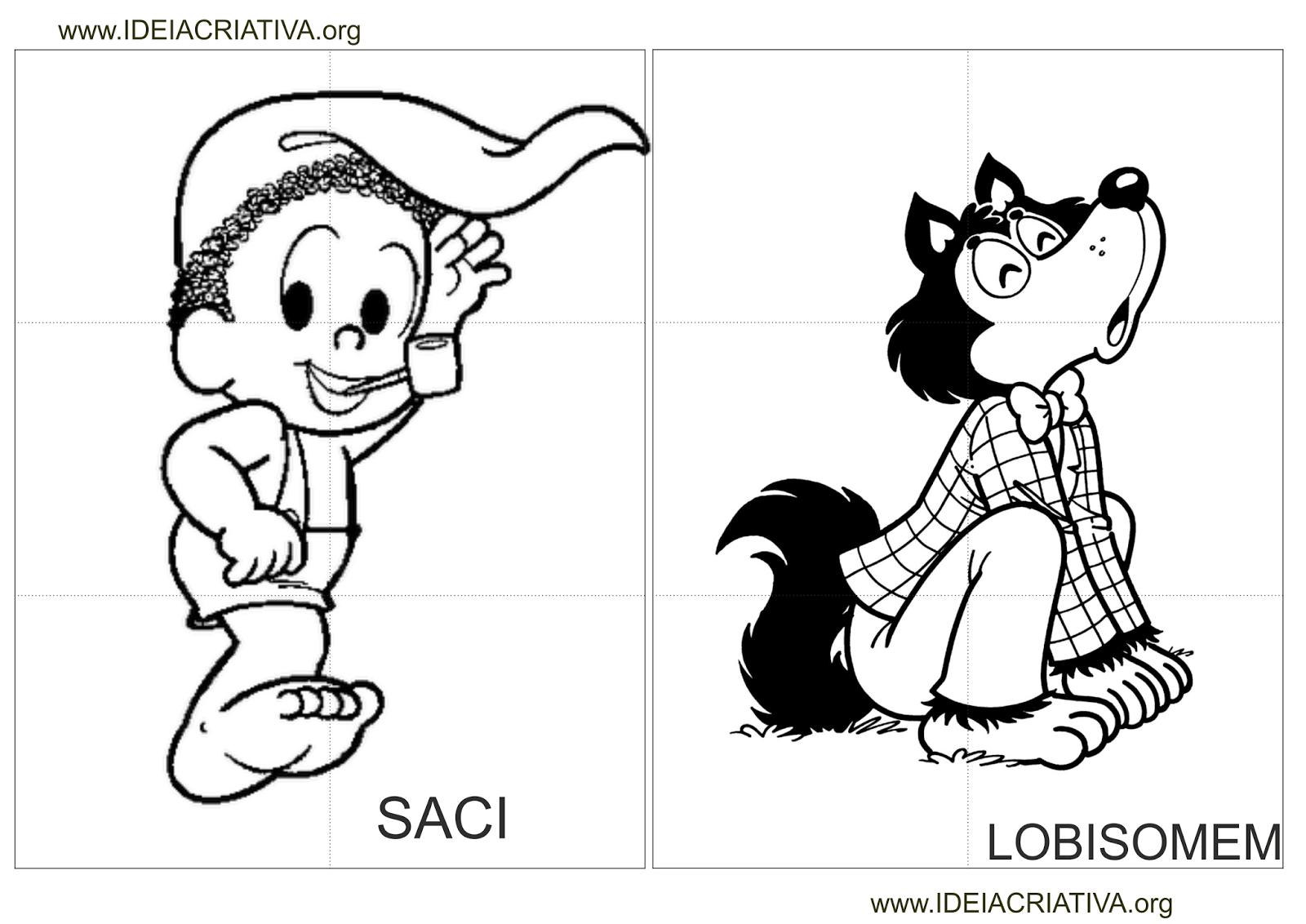 Quebra - Cabeça Personagens Folclóricos Colorir