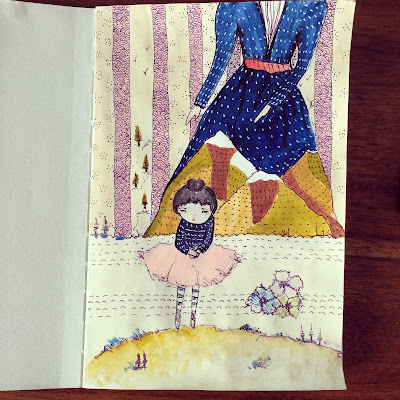 Surreal Art of little girl and mother image.