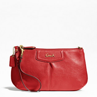 Ready Stock Coach Ashley Wristlet F48103 Cherry