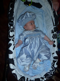Blue Dupion SIlk Christening Set