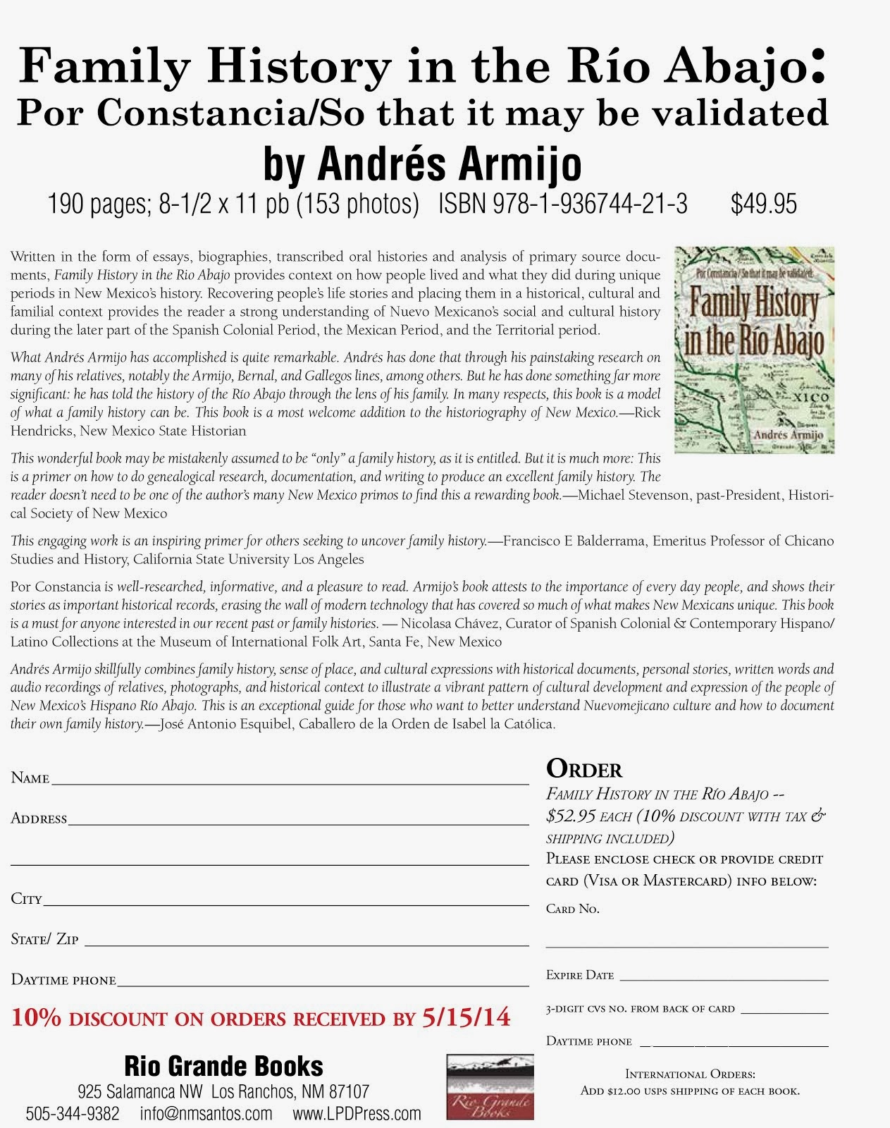 "Order Form for ""Family History in the Río Abajo"""