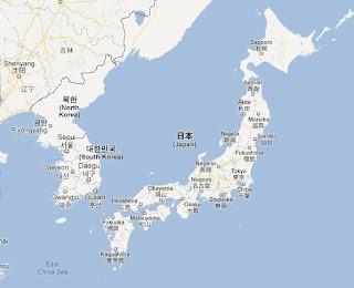 mapa de Asia, Corea y Japón