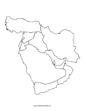 Small blank map of the Middle East with borders indicated