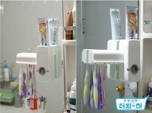 New Toothpaste Dispenser & Brush Set WHITE