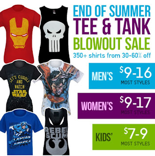 End of Summer Tee and Tank Blowout Sale at SuperHeroStuff