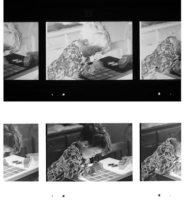 Before and after of a black and white negative photographed with a DSLR.