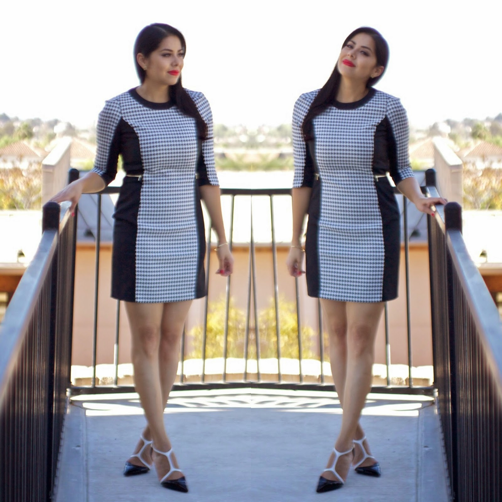 H&M Houndstooth Dress, Dress by H&M, San Diego Fashion Blogger, So cal fashion blogger, latina fashion blogger