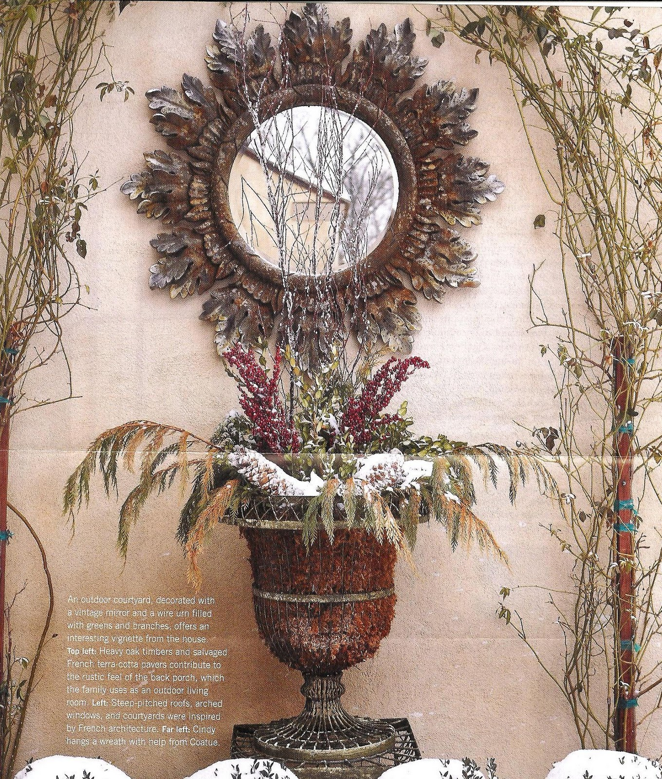 haus design decorating for winter with urns