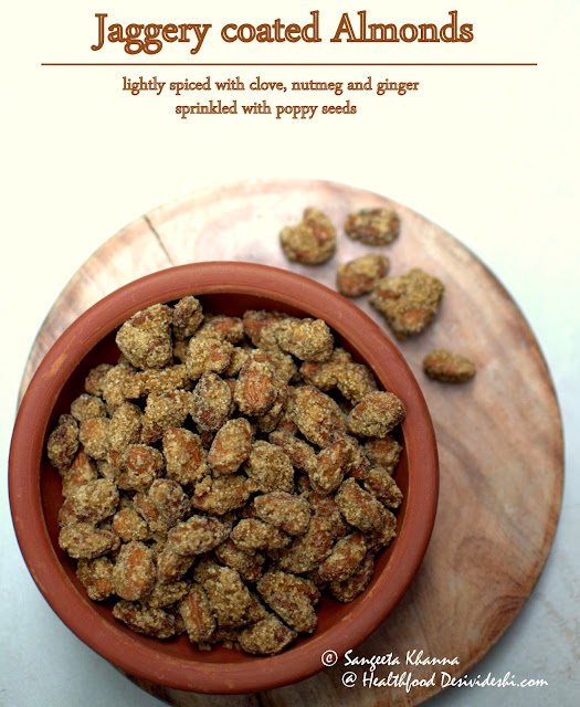 jaggery coated almonds | easy to make natural unprocessed snack