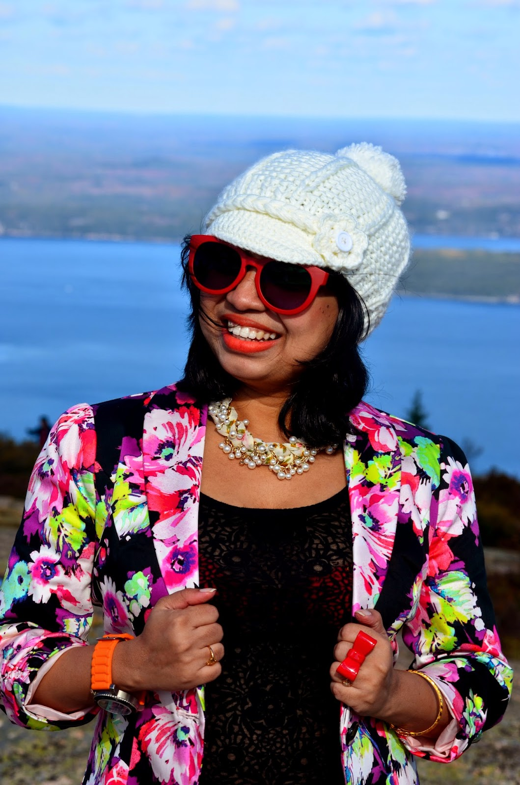 fall fashion, fall outfit, post partum fashion, fall OOTD, outfits in Maine, floral blazer, Kohl's Blazer, Target bootie, Rue 21 denim, Firmoo sunglass, Pearl nexklace, Floral necklace, Winges sunglass, Tommy Hilfiger Watch, Forvere 21 ring