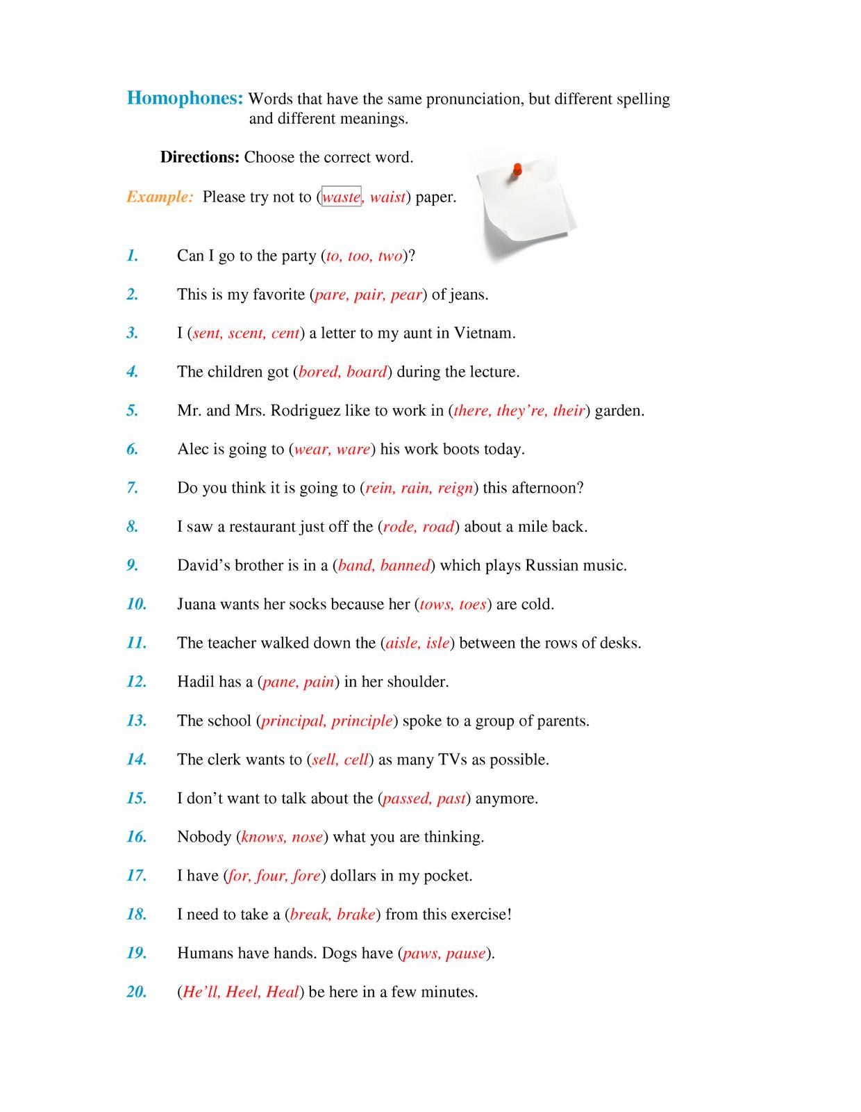 Worksheets Homonyms Worksheet homophones homonyms worksheet