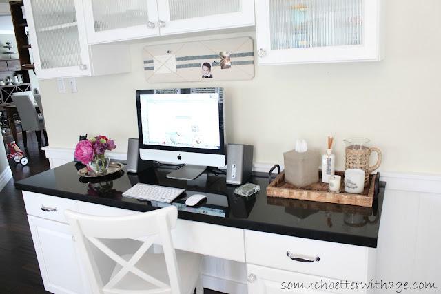 Kitchen Office www.somuchbetterwithage.com #kitchen #office #cabinet