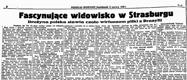 Opis meczu Polska 4-5 Brazylia z 1938 r. w Przeglądzie Sportowym