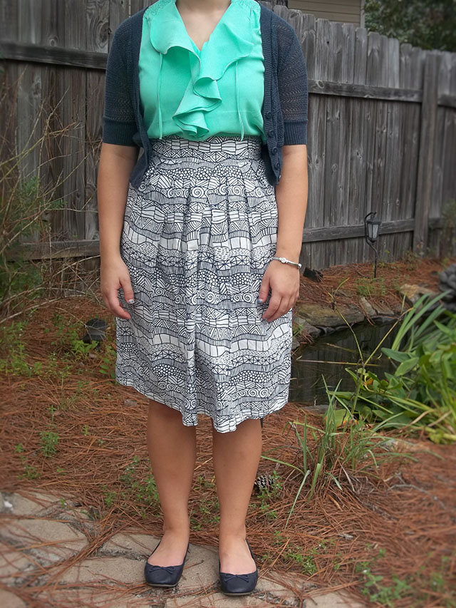 eShakti navy print skirt mint ruffle blouse navy cardigan navy flats simple silver jewelry outfit coupon code