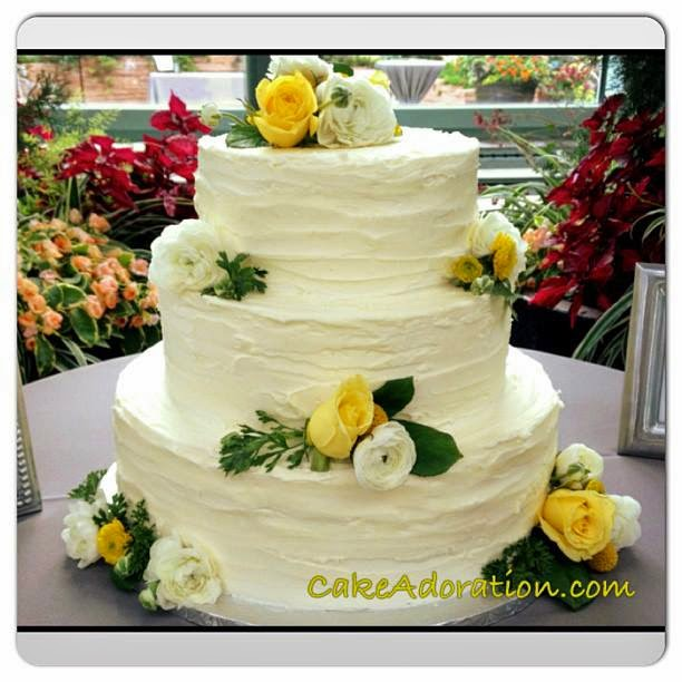 Textured Butter Cream Wedding Cake With Beautiful Fresh Flowers A Vintage Classic