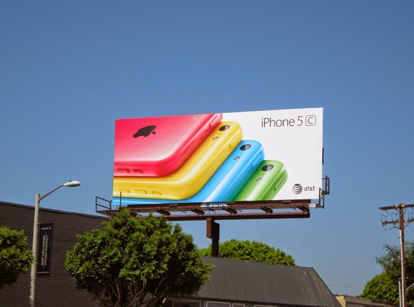 Colour iPhone 5c on white background billboard