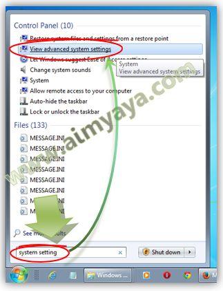 Gambar: Memunculkan dialog System Properties Windows 7