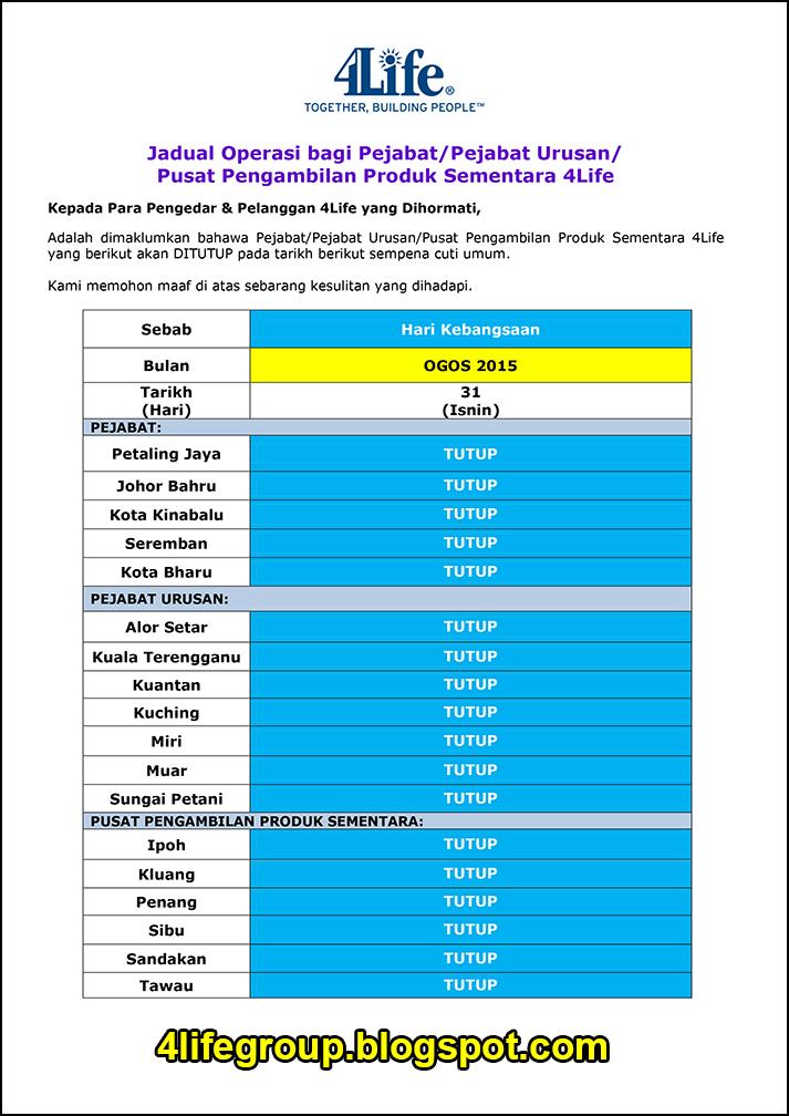 foto Jadual Operasi Bulanan Ogos 2015 4Life Malaysia
