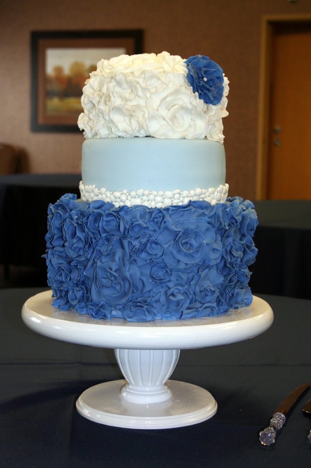 The Cake Cottage Blue Ruffle Flowers Wedding
