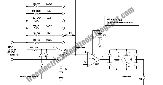 swith for diagram  ac dc microammeter circuit