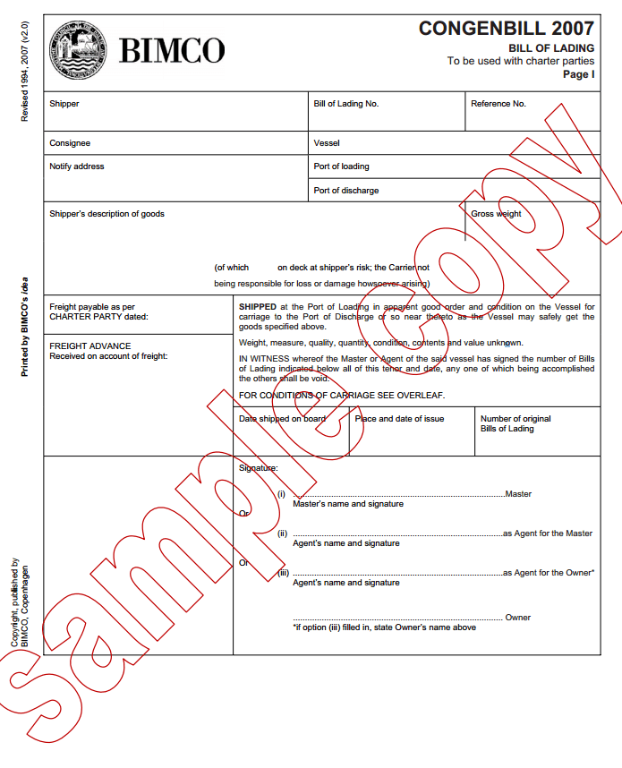 What is a charter party bill of lading – Sample of Bill of Lading Document