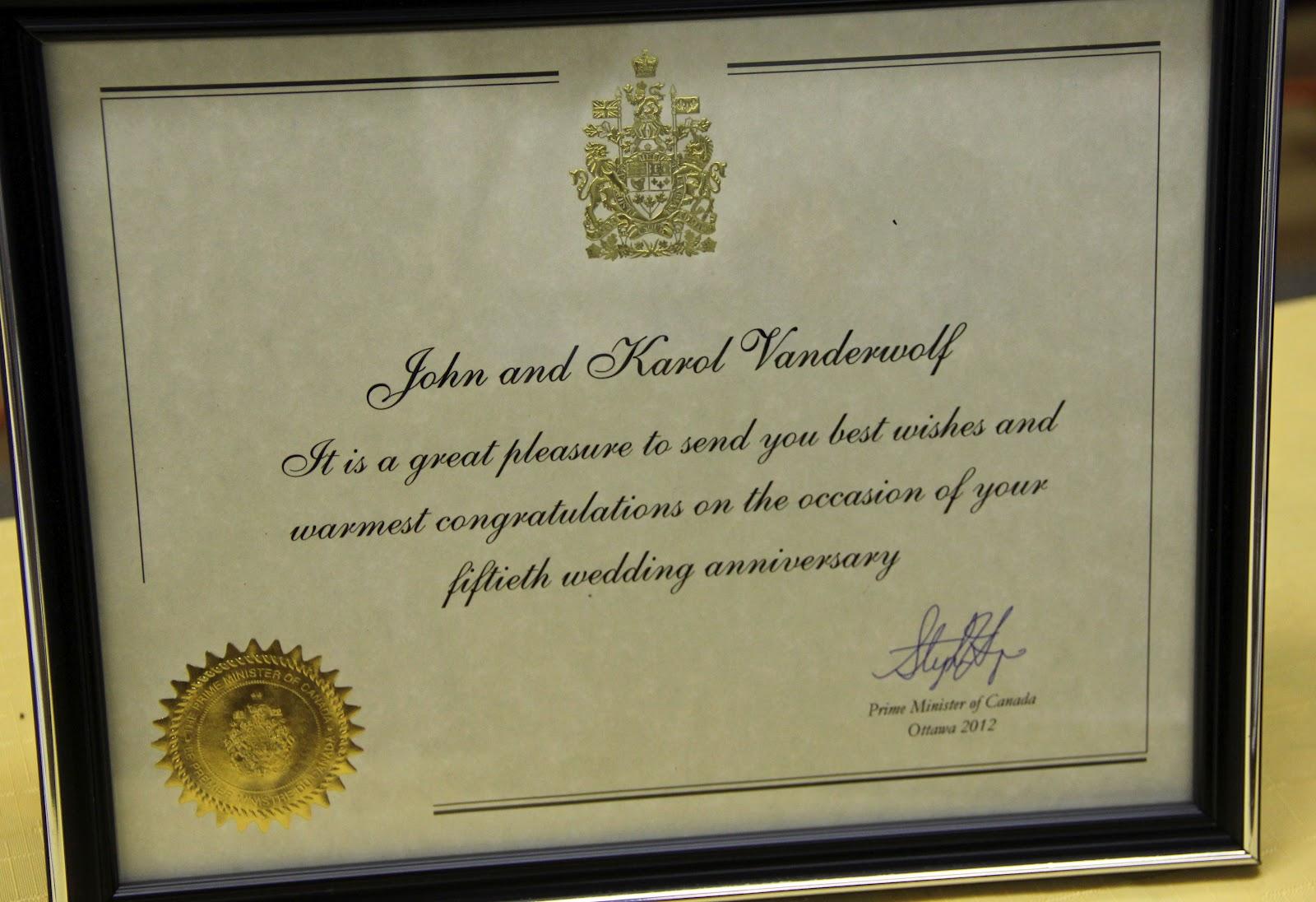 50th Wedding Anniversary Gifts For Parents Canada : Ooooooh! Signed by the Prime Minister! Coooooooool!