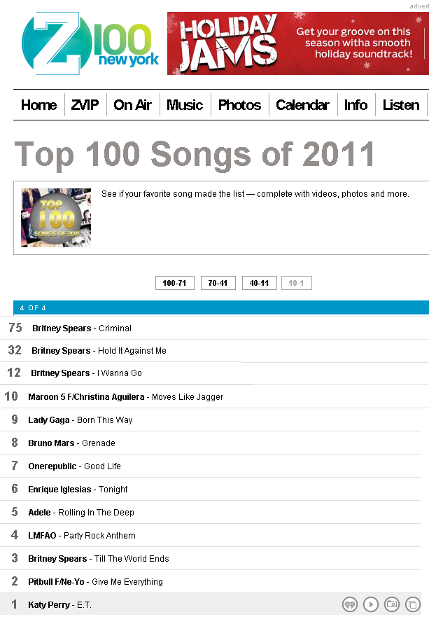 Britney on Z100 Top 100 Songs of 2011 List!