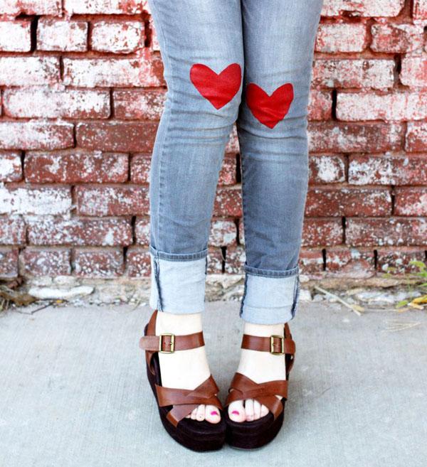 HEART JEANS Diy faça você mesmo handmade coração calça decoração