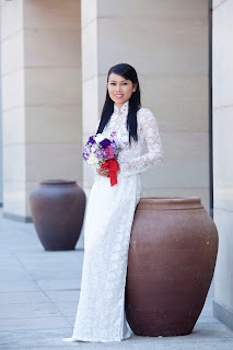 Beautiful girl wearing Vietnamese traditional dress Ao Dai