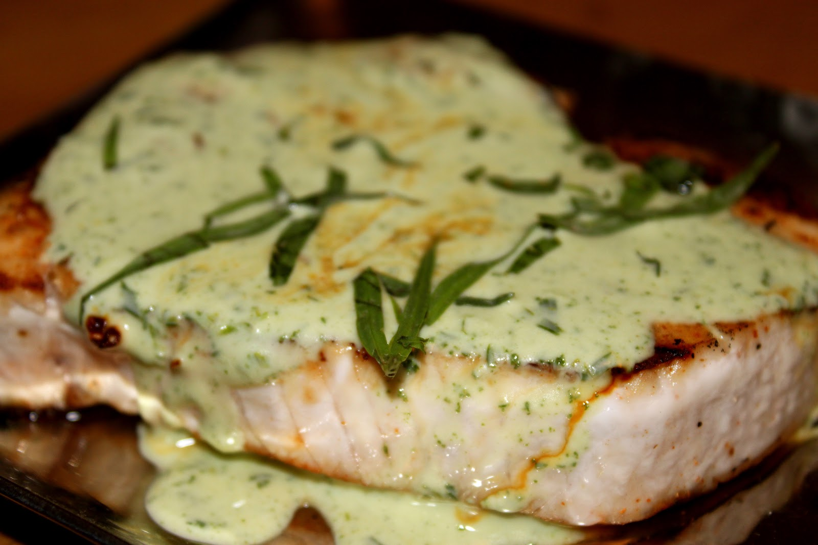 Blackened Swordfish with Tarragon Yogurt Sauce
