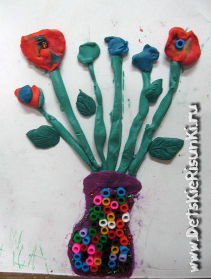 Детские Рисунки поделки букеты цветы пластилин бисер бусины