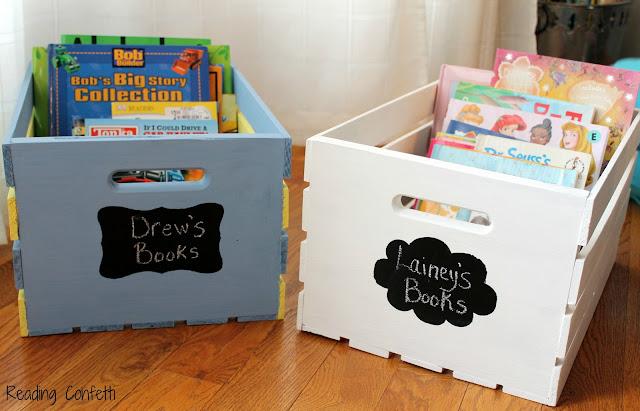 Diy book storage crates reading confetti for Kids book storage diy