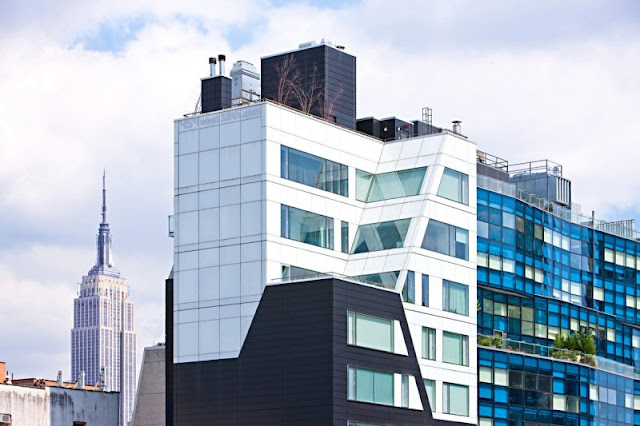 Photo of one of the modern New York Penthouses as seen from the street