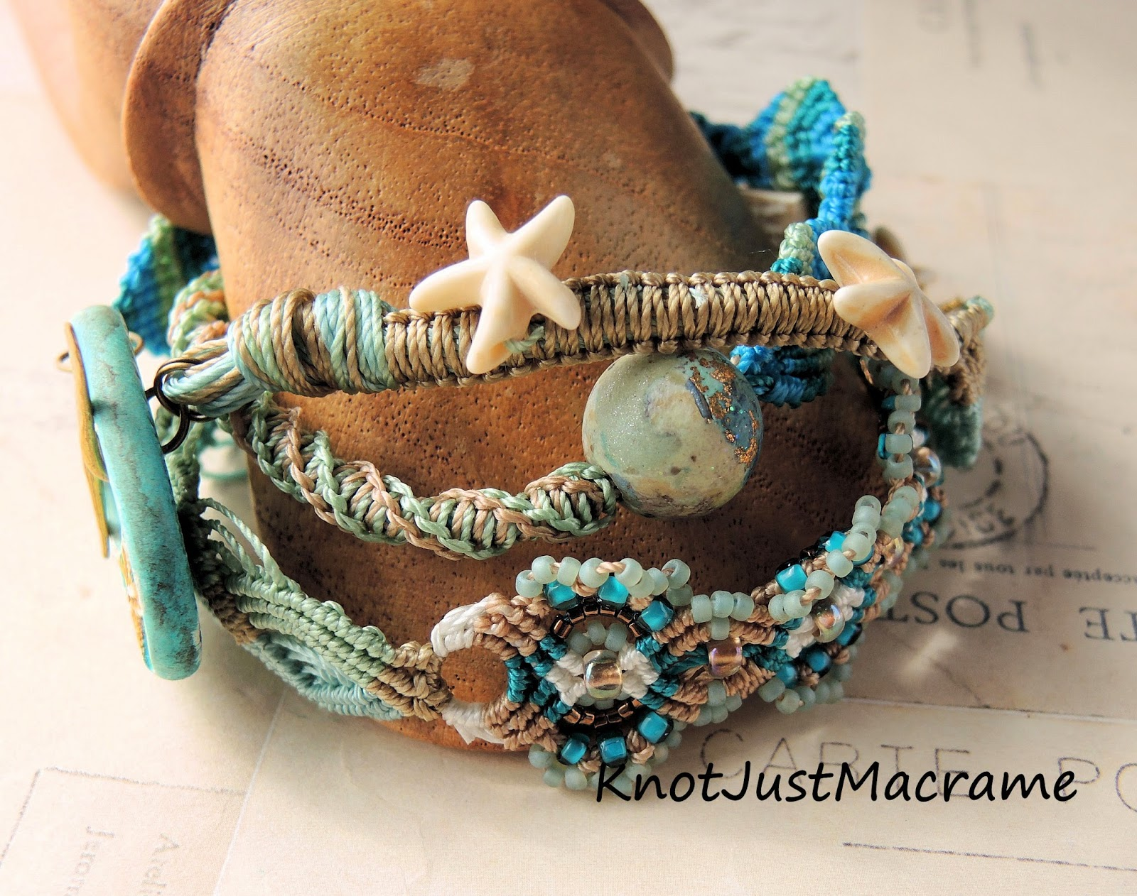 Starfish beach themed micro macrame wrap bracelet by Knot Just Macrame.