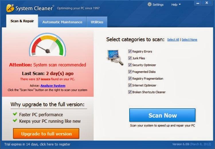 صورة من برنامج سيستم كلينر System Cleaner