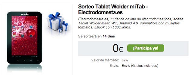Sorteo Tablet Wolder miTab - Electrodomesta.es Electrodomesta.es, tu tienda on line de electrodomésticos, sortea Tablet Wolder Mitab Wifi, Android 4.0, compatible con multiples formatos. Ebook con 1000 libros.