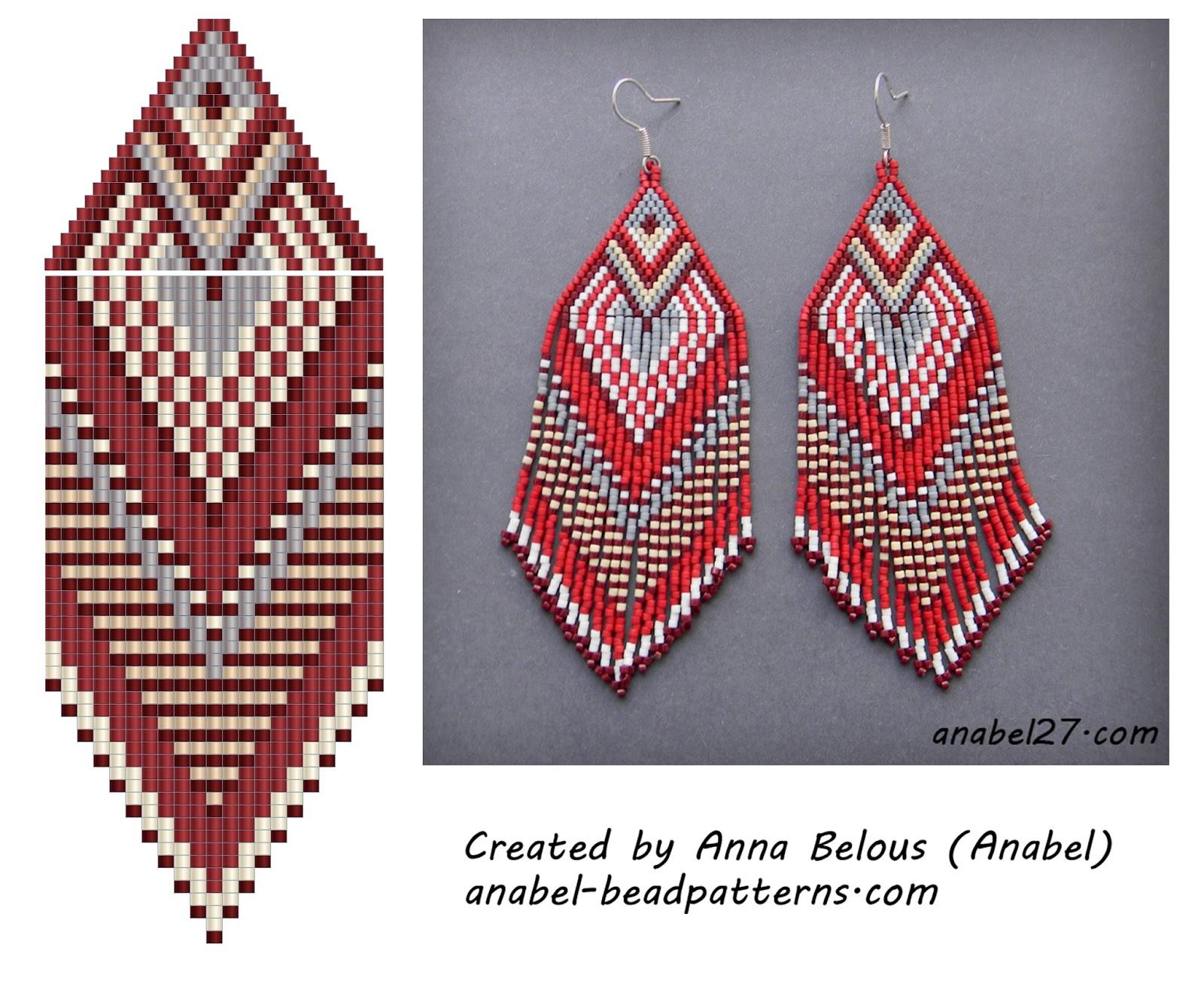 Схемы для бисероплетения - серьги    с бахромой - free peyote earrings pattern