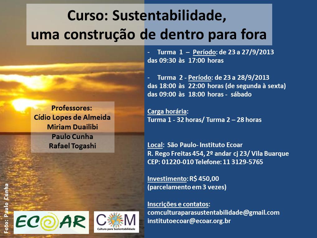 Curso: Sustentabilidade, uma construção de dentro para fora