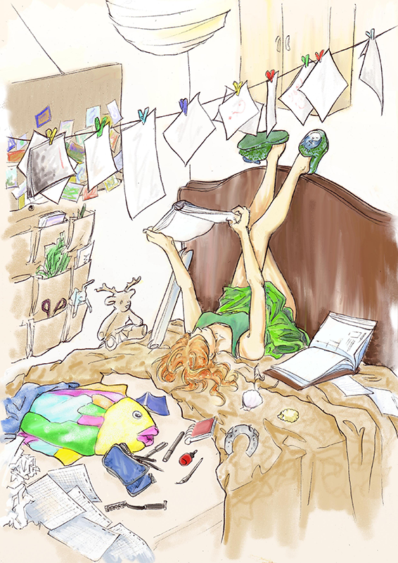 Autoportrait fouilli, dessin d'une chambre en désordre