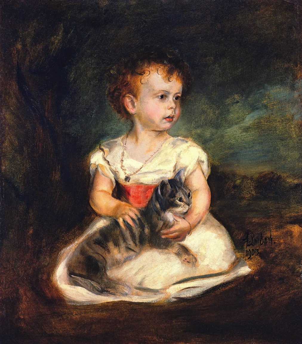 Franz  von  Lenbach  portrait  of  a  child  with  cat