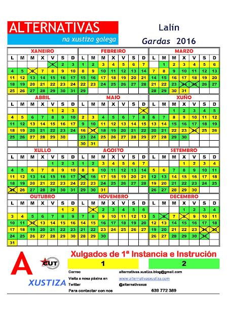 Lalín. Calendario gardas 2016