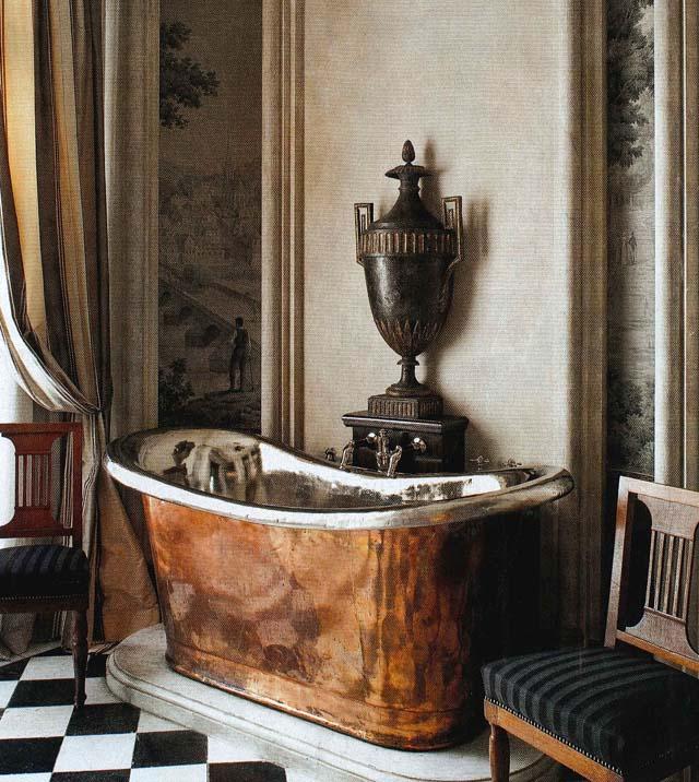 Diseño interior de baño estilo clasico chic en paris