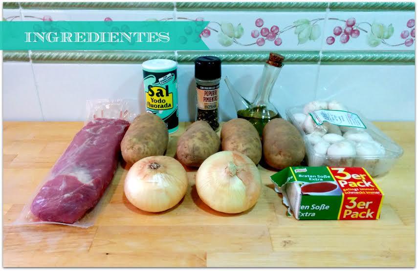 Ingredientes para hacer Solomillo de cerdo con salsa braten y puré de patatas asadas