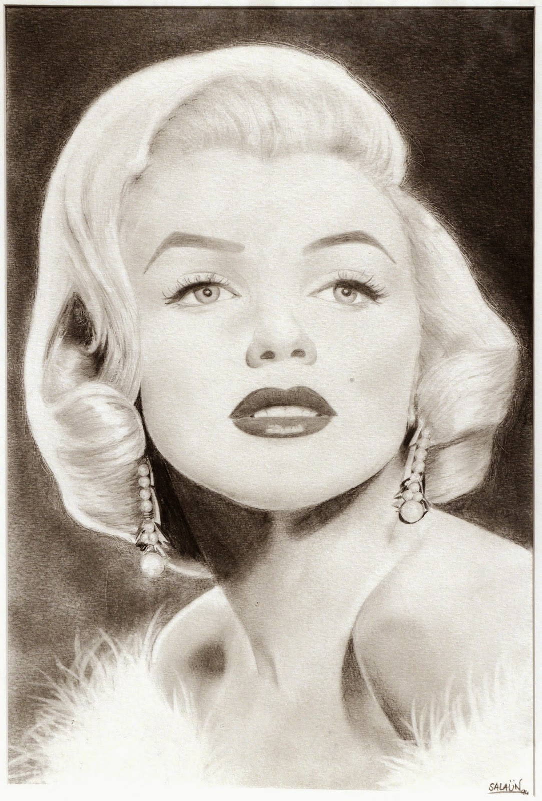 Marylin Monroe, dessin, graphite