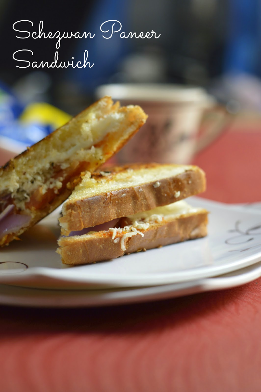 spicy quick schezwan paneer sandwich recipe