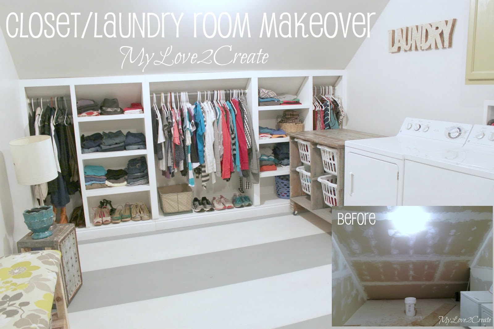 attic sewing room ideas - Closet Laundry Room Makeover