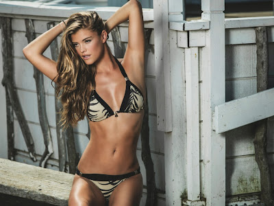 Danish supermodel Nina Agdal hot cleavage sexy bikini model photos