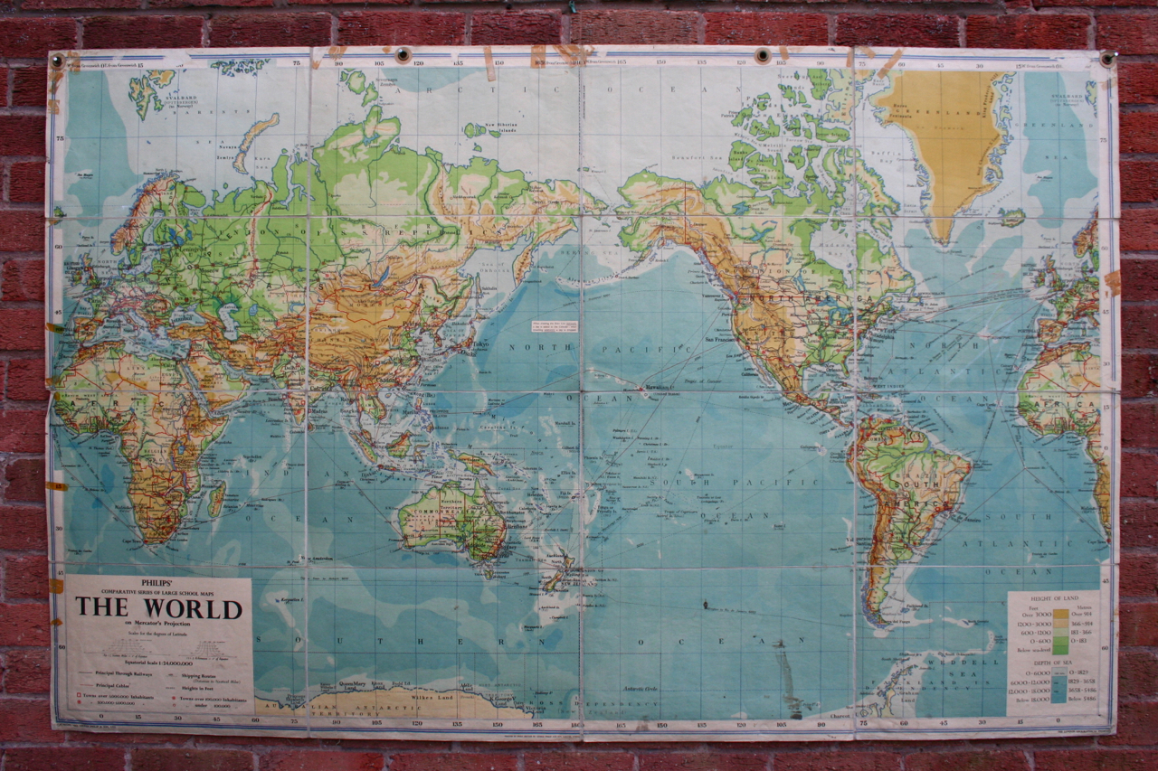 Vintage school maps no 1 the world map of the world linen wall hanging 1955 gumiabroncs Images