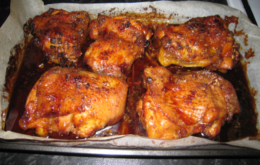 Sticky baked chicken thighs recipe